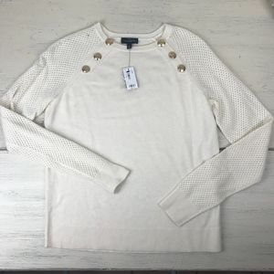 NWT- The Limited White Sweater with Gold Button